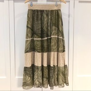 Anthro Lapis Green Animal Print Tiered Maxi Dress